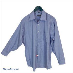 Geoffrey Beene blue houndstooth button up